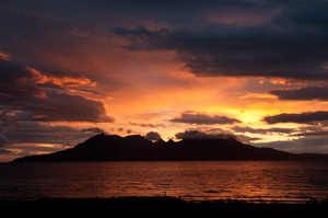 Sunset over Rum from Laig Beach